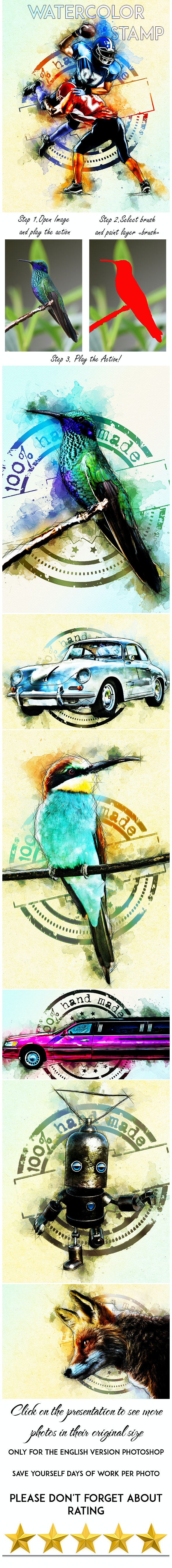 Watercolor Stamp Photoshop Action - Photo Effects Actions