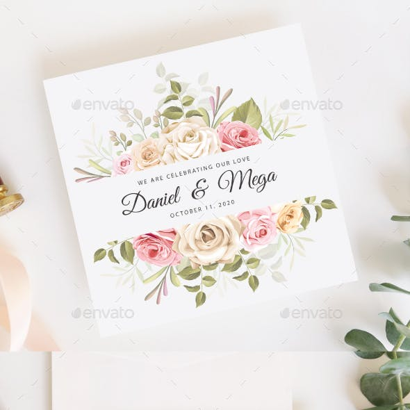 Wedding Invitation Floral Frame