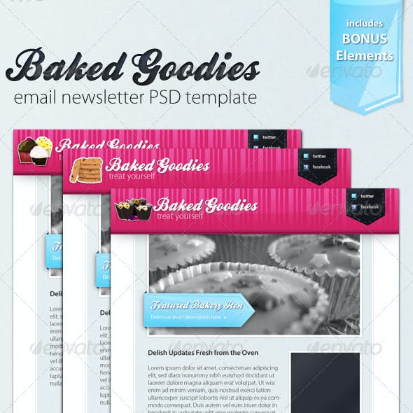 Baked Goodies Email Newsletter PSD Template