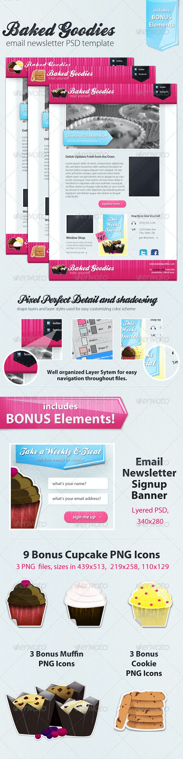 Baked Goodies Email Newsletter PSD Template - E-newsletters Web Elements