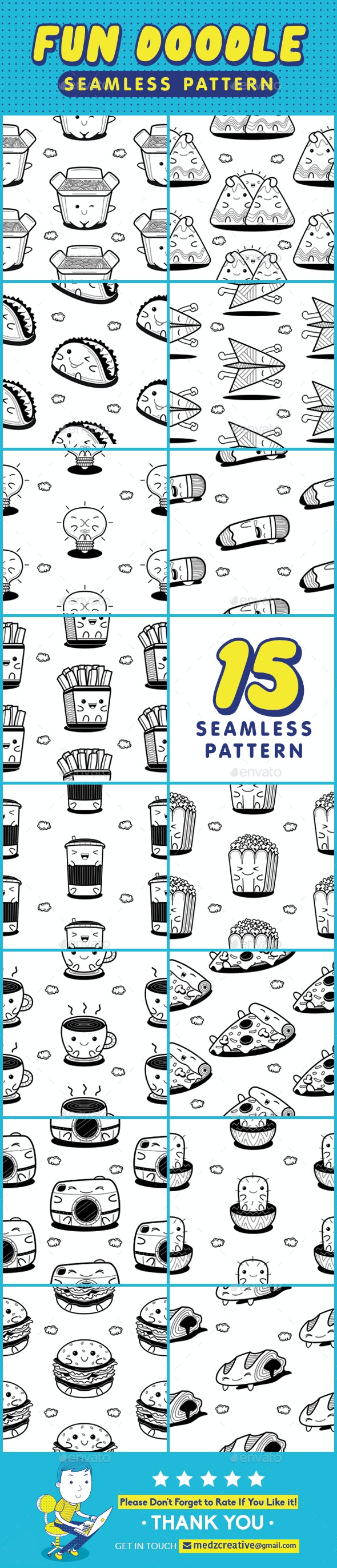 Fun Doodle Seamless Pattern - Patterns Backgrounds