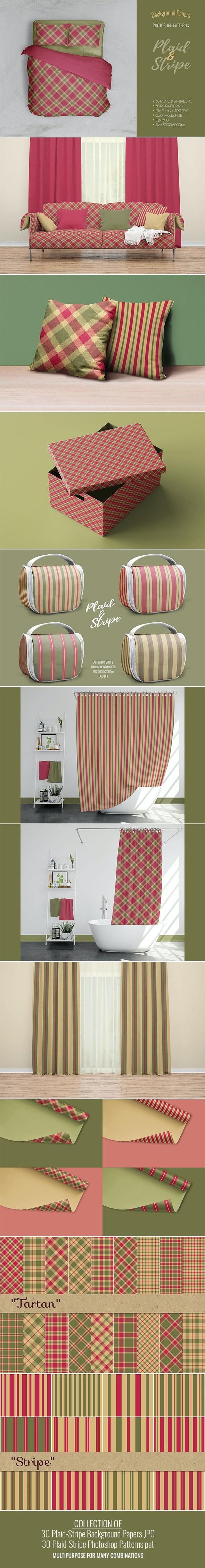 30 Plaid-Stripe PS Patterns pat.& 30 Plaid-Stripe Backgrounds JPG - Photoshop Add-ons