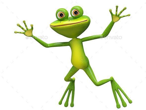 3D Illustration of a Jumping Frog - Animals Illustrations