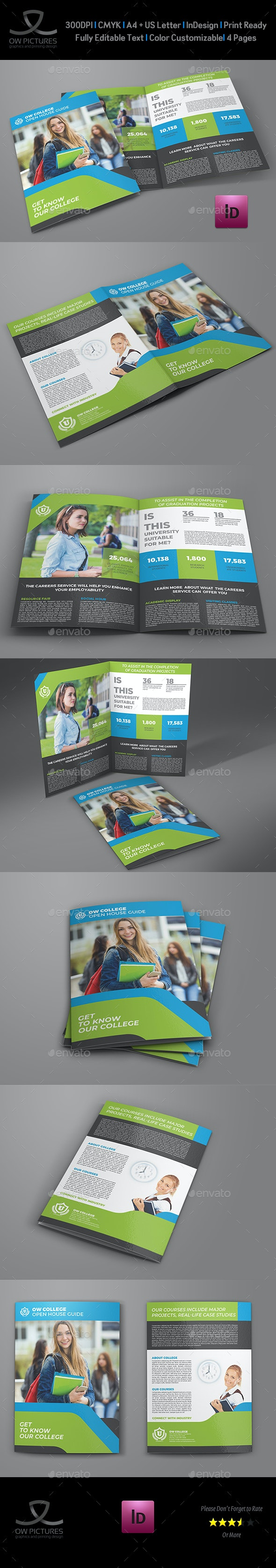 College Open House Bi-Fold Brochure Template - Brochures Print Templates