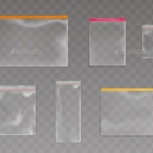Plastic Zip Bags Empty Pouches Packages Mockup Set