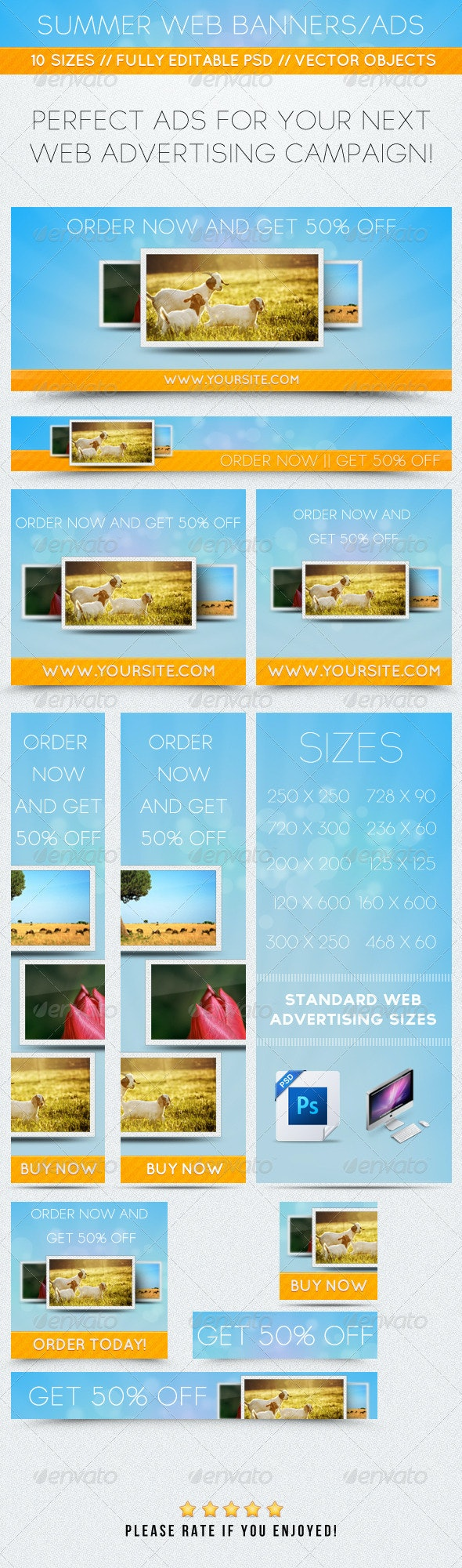 Summer Web Banners/Ads - Banners & Ads Web Elements