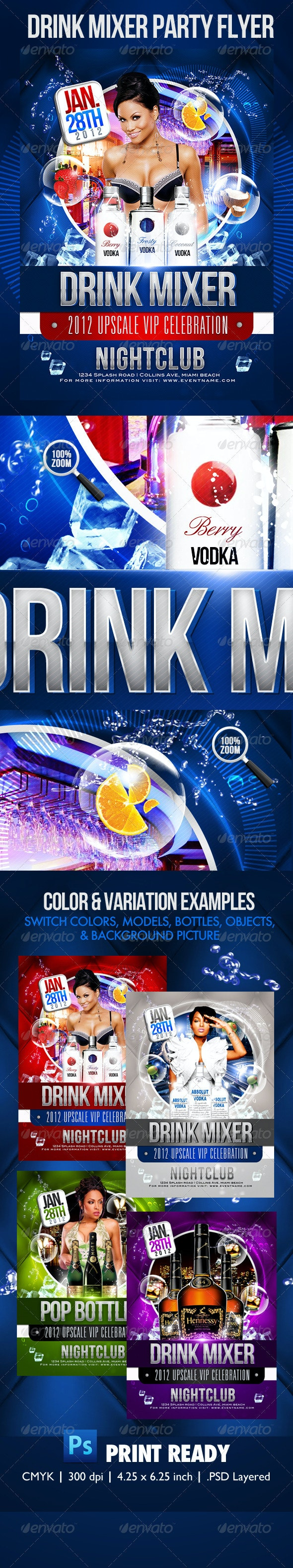 Drink Mix Party Flyer Template - Clubs & Parties Events