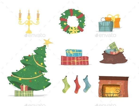 Design Elements Set for Merry Christmas Cards - Christmas Seasons/Holidays