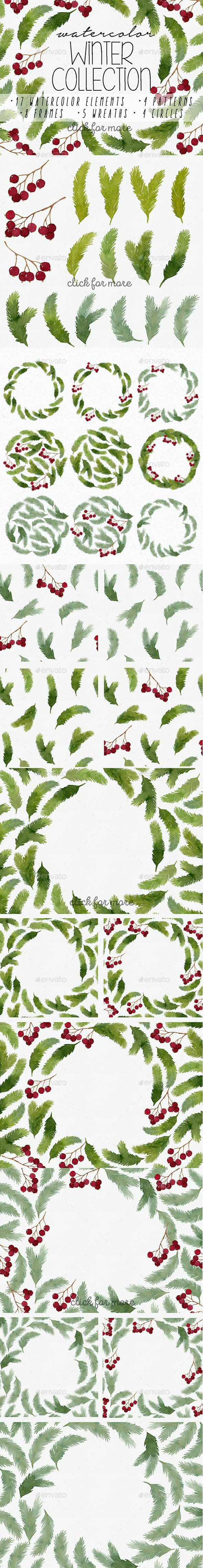 Watercolor Winter Collection - Nature Backgrounds