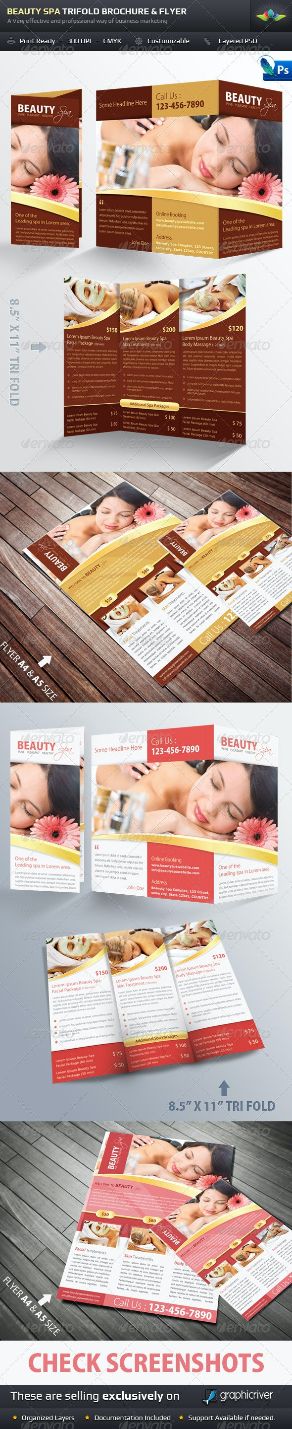 Beauty Spa Trifold Brochure & Flyer Pack - Brochures Print Templates