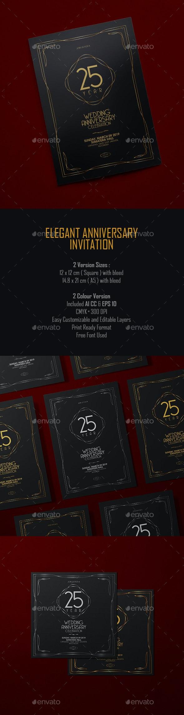 Elegant Anniversary Invitation - Anniversary Greeting Cards