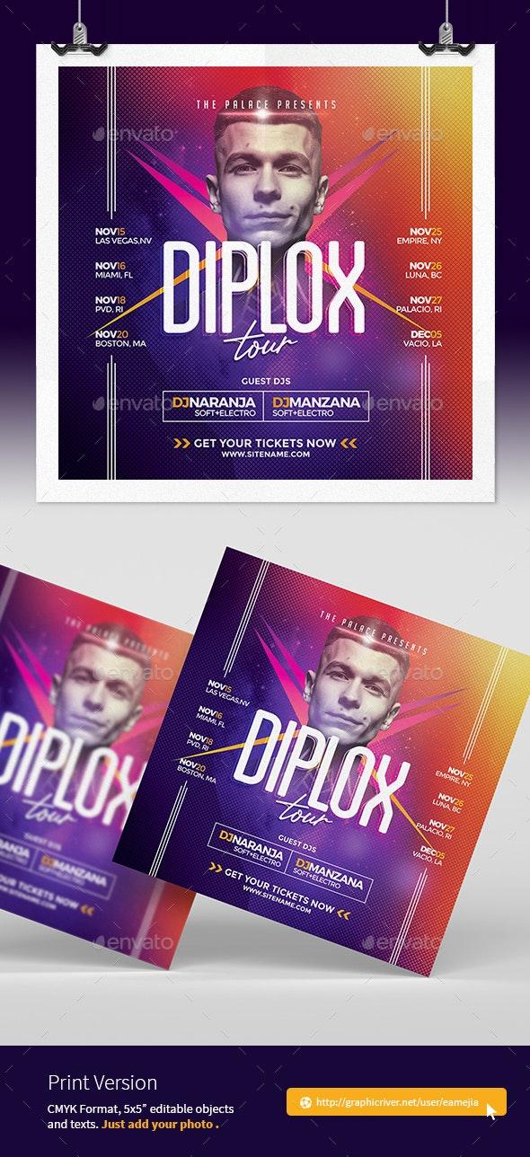 Electronic Music Dj Promotional Flyer Template - Events Flyers