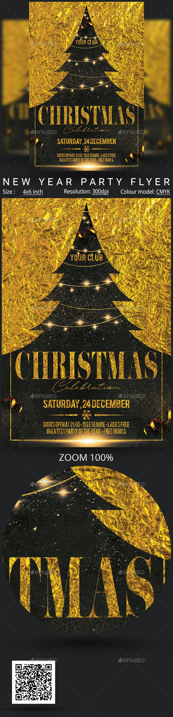 Black & Gold Christmas Party Flyer Template