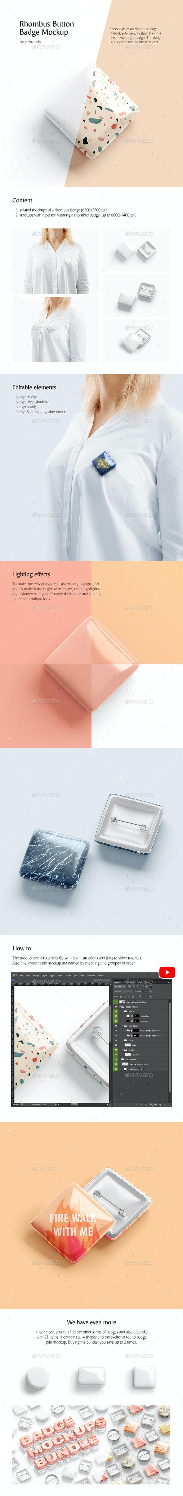 Rhombus Button Badge Mockup - Product Mock-Ups Graphics