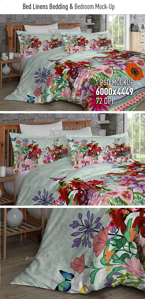 Bed Linens Bedding & Bedroom Mock-Up3 - Miscellaneous Backgrounds