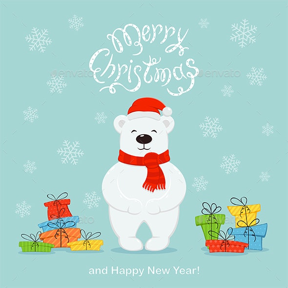 polar bear with colored presents on a blue christmas background by losw https graphicriver net item polar bear with colored presents on a blue christmas background 25023206