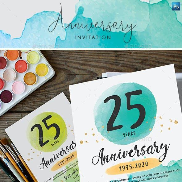 Watercolor Anniversary Invitation