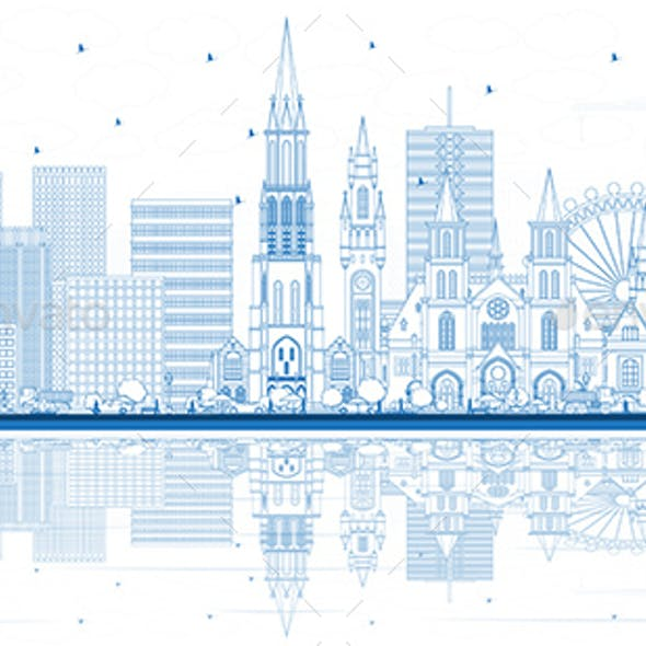 Outline The Hague Netherlands City Skyline with Blue Buildings and Reflections