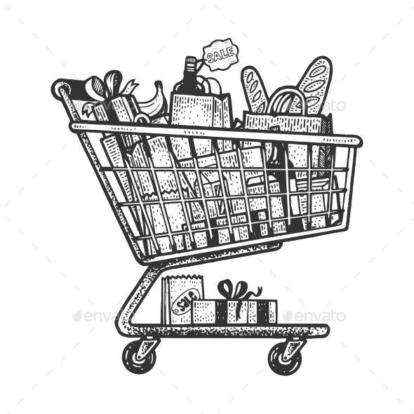 Shopping Cart Sketch Engraving Vector Illustration - Food Objects
