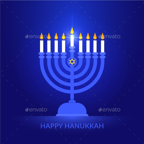 Happy Hanukkah Vector Background