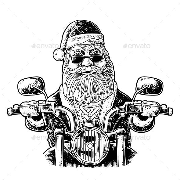 Santa Claus Riding a Motorcycle Vector Vintage - Christmas Seasons/Holidays