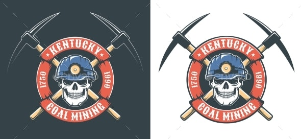 Miner Skull in Hardhat and Crossed Picks - Retro - Miscellaneous Vectors