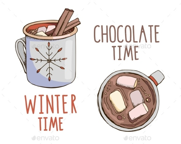 Set of Hand Drawn Vector Mugs with Hot Chocolate - Food Objects