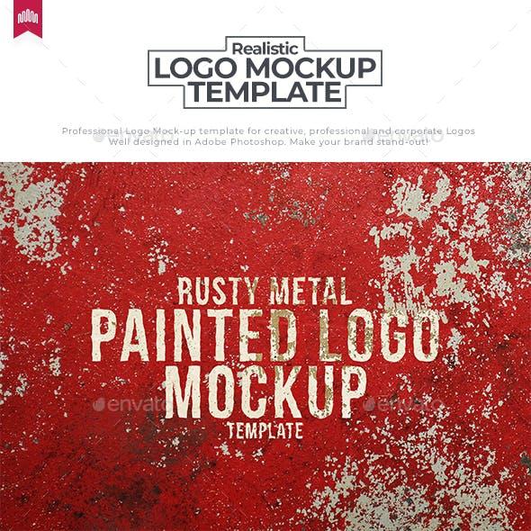 Rusty Painted Metal Logo Mockup