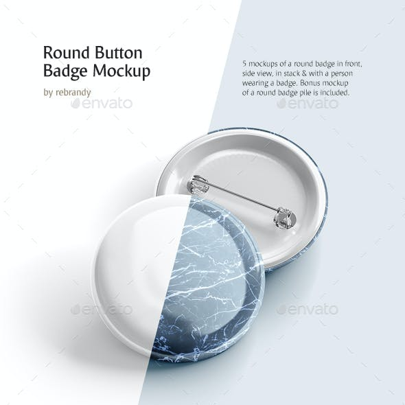 Round Button Badge Mockup