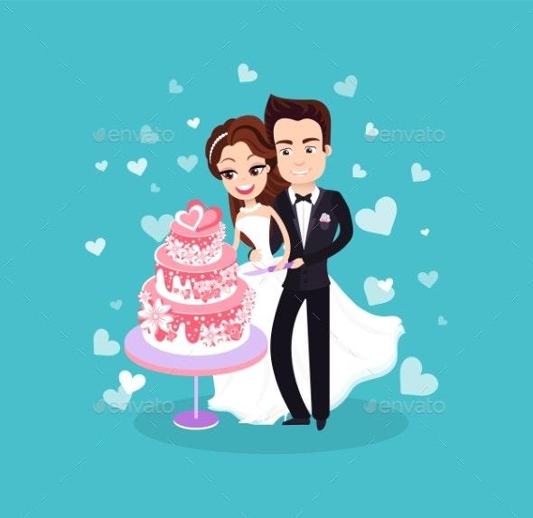 Bride and Groom Cutting Dessert Wedding Vector - Weddings Seasons/Holidays