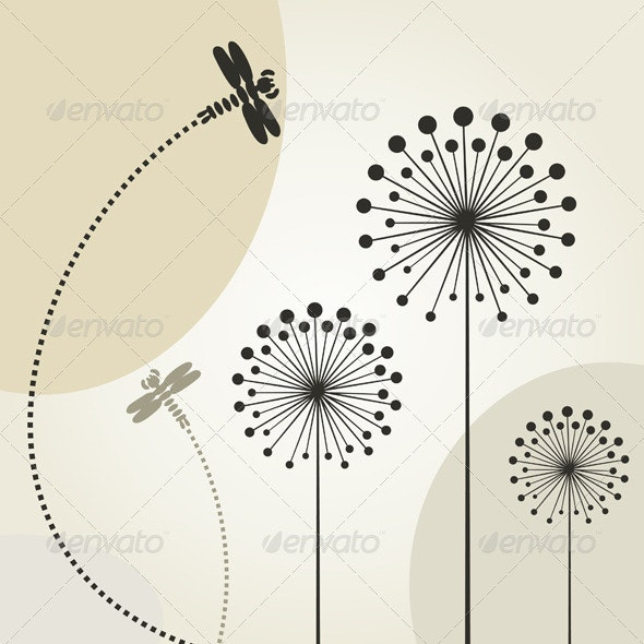 Dragonfly on a Flower - Animals Characters