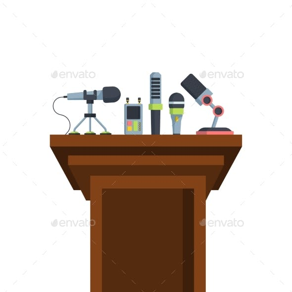 Brown Tribune with Microphones Flat Vector
