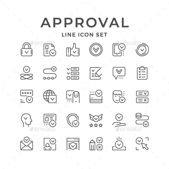 Set Line Icons of Approval - Web Icons