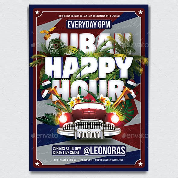 Cuban Happy Hour Flyer Template