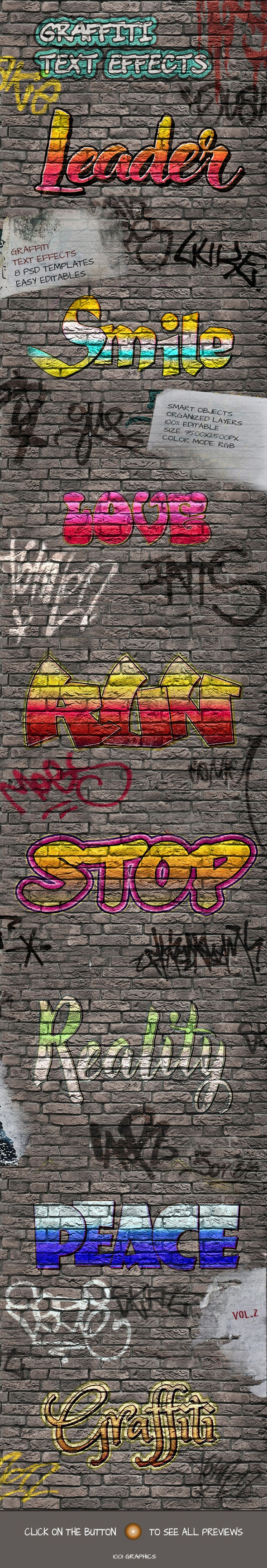 8 Graffiti Text Effects - 8 PSD Templates Vol.2 - Text Effects Actions