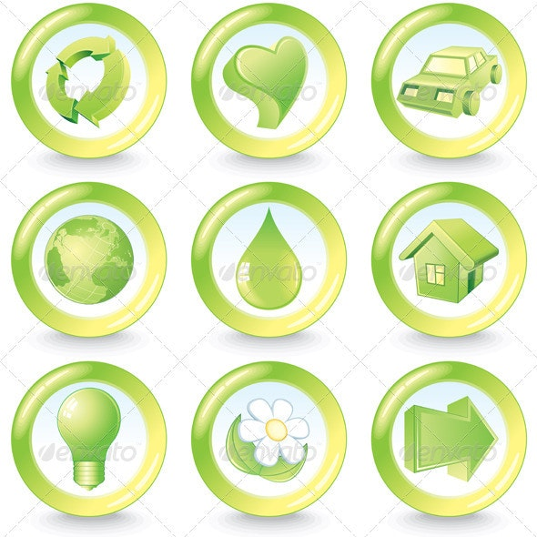 Green Eco Buttoons - Decorative Symbols Decorative