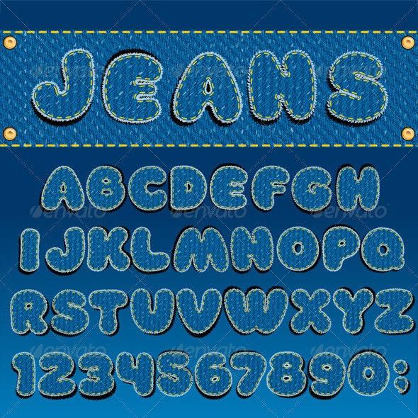 Denim Font - Decorative Symbols Decorative