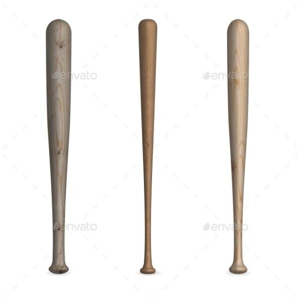 Set of Wooden Baseball Bats