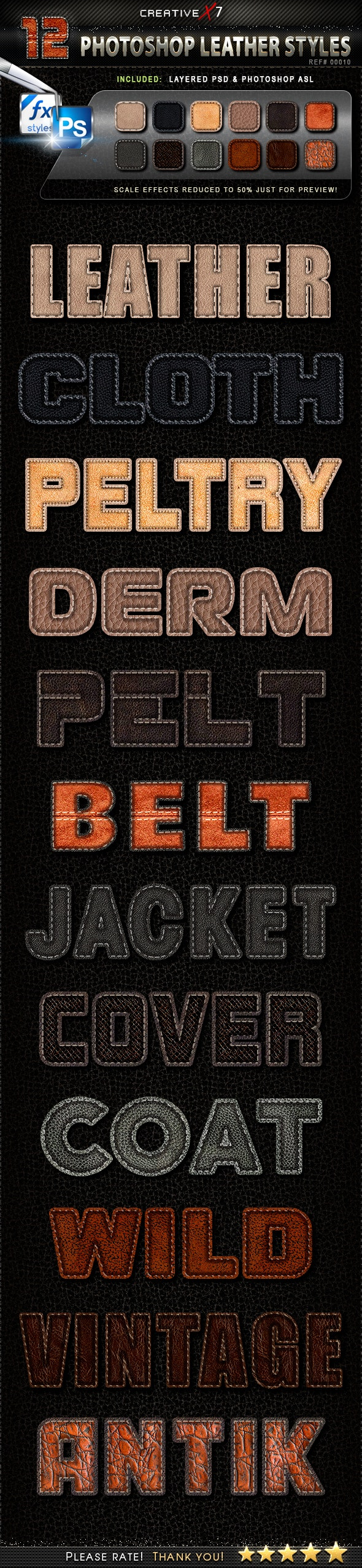 CreativeX7 - 12 Photoshop Leather Styles - Text Effects Styles