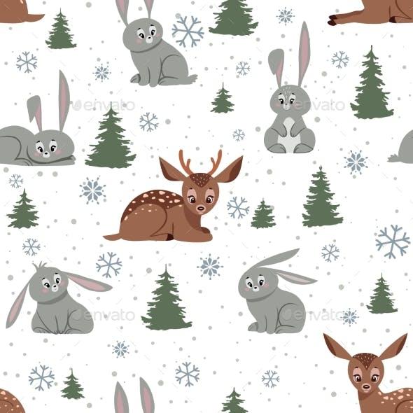 Deer and Bunnies Background