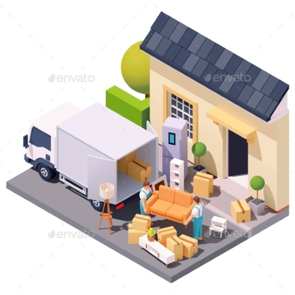 Vector Isometric Movers at House Relocation