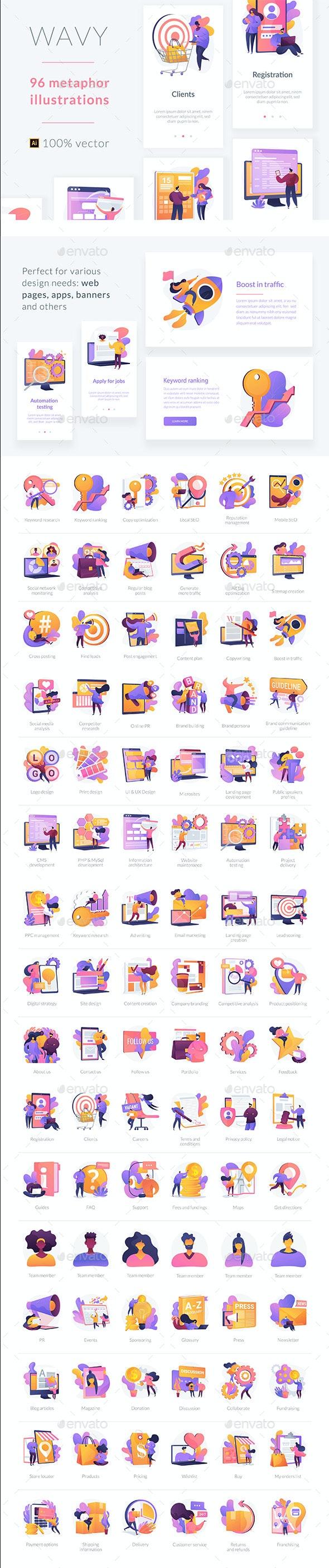 96 Metaphor Illustrations for UI Design - Concepts Business