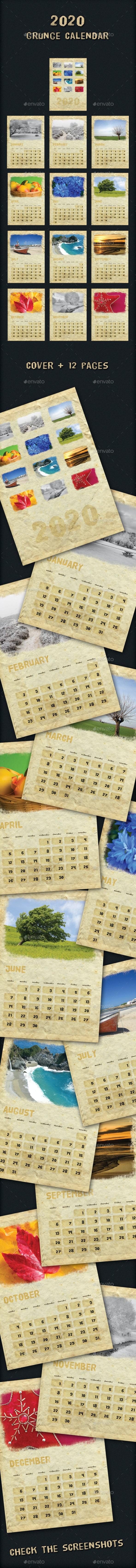 2020 Grunge Calendar - Calendars Stationery