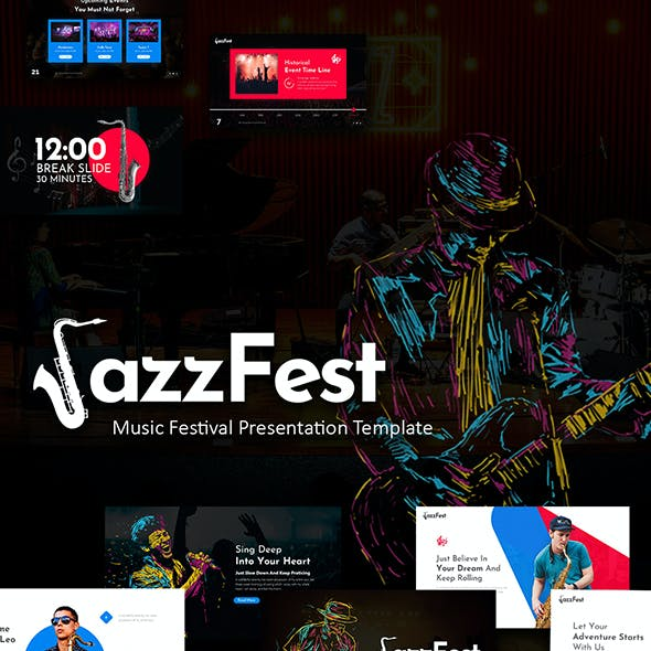 JazzFest - Music Event PowerPoint Presentation Template With Creative Style and Animation