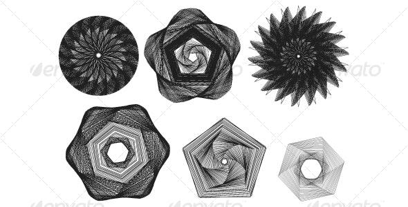 various spiral vectors - Decorative Symbols Decorative