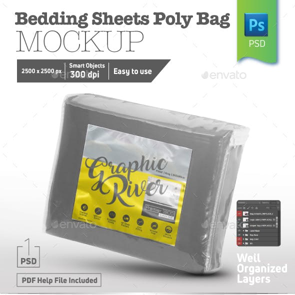 Bedding Sheets Square Poly Bag Mockup