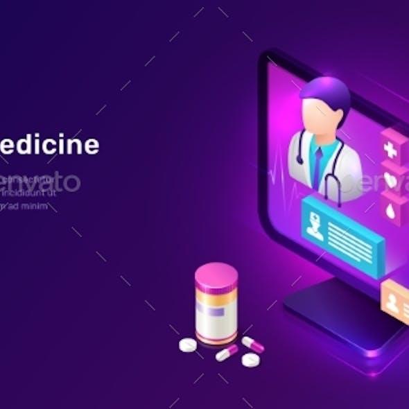 Online Medicine Isometric Concept Telemedicine