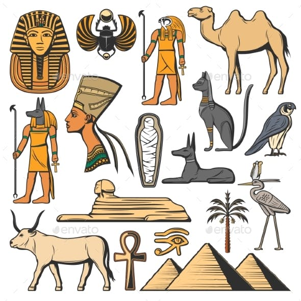 Ancient Egypt Pharaoh, Pyramids, Sphinx and Gods