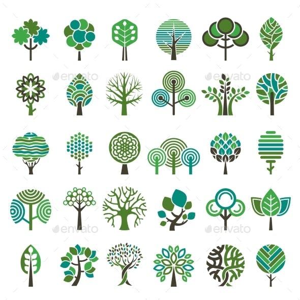 Eco Nature Wood Trees Stylized Emblems