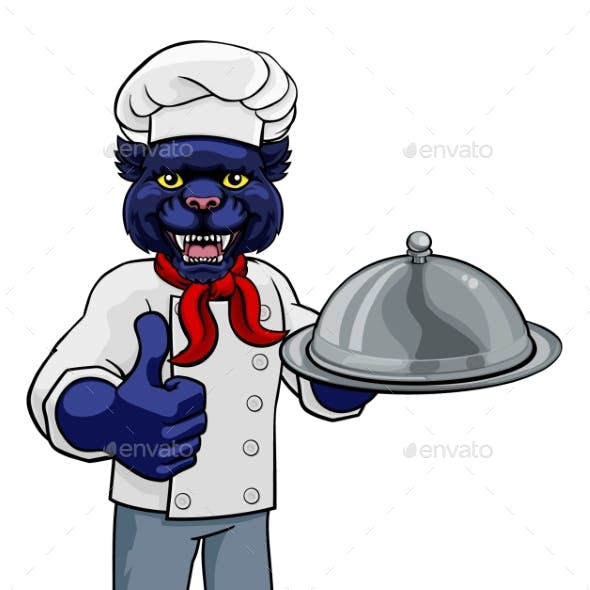Panther Chef Mascot Cartoon Character